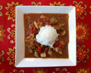 Chicken and Sausage Gumbo on Floral Background