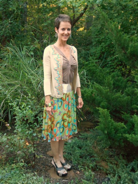 Consignment Outfit--Missoni Sport Skirt, BCBG Sweater, Nine West Shoes