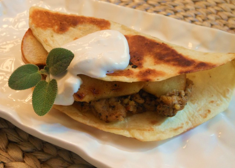 "Vegan Maple-Sage Tempeh ""Sausage"" and Grilled Apple Quesadillas ..."