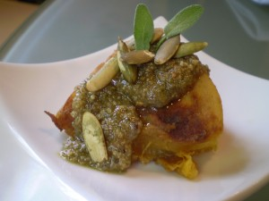 Turks Turban Squash with Pepita-Sage Pesto