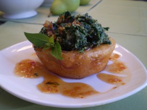 Ruth's Chris Tempura Onion Ring Cups with Creamed Kale