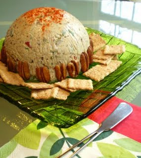 Vegan Cheese Ball with Smoked Almonds, Scallions and Olives