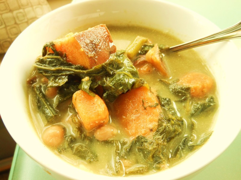 Sweet Potato, Chickpea and Turnip Green Soup