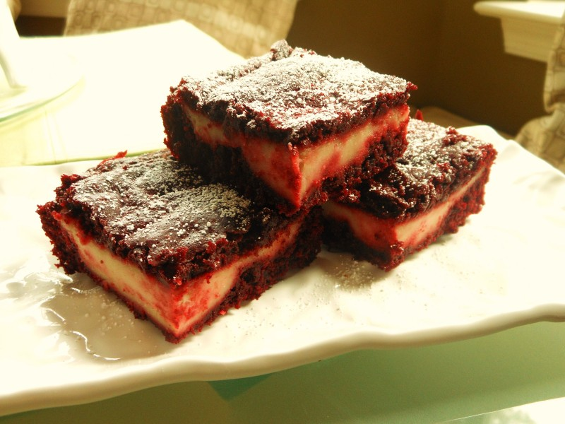 Red Velvet Brownies with Cream Cheese Layer 1