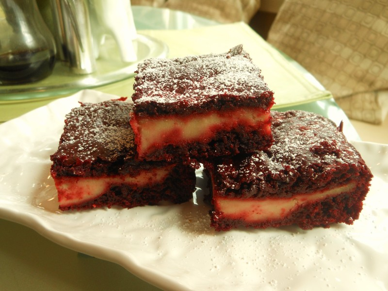 Red Velvet Brownies with Cream Cheese Layer 2