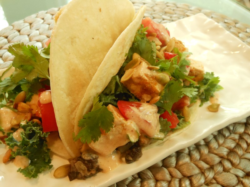 Tacos with Chipote-Orange Marinated Tofu
