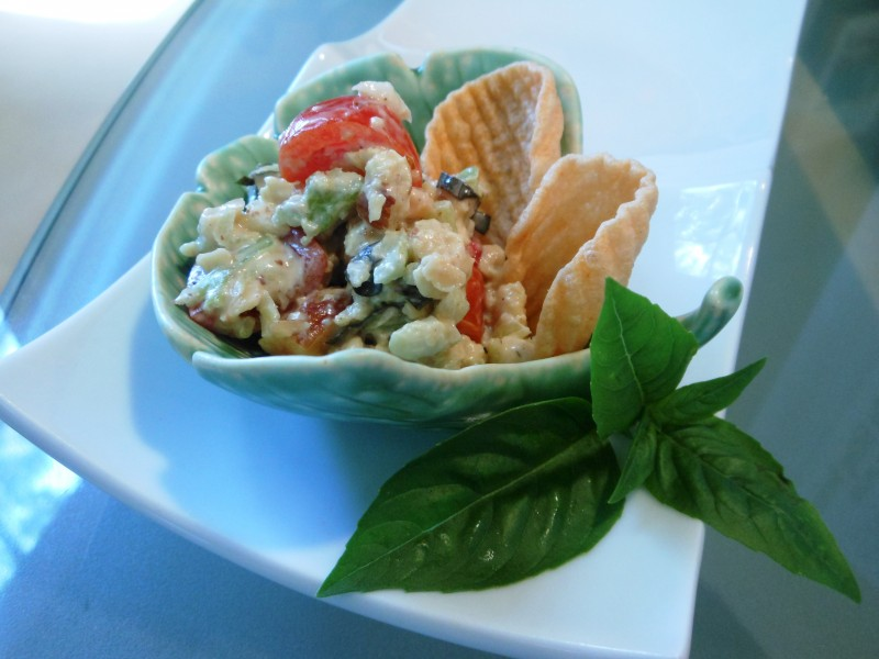 No-Chicken Salad with Tomatoes, Basil, and Smoked Almonds