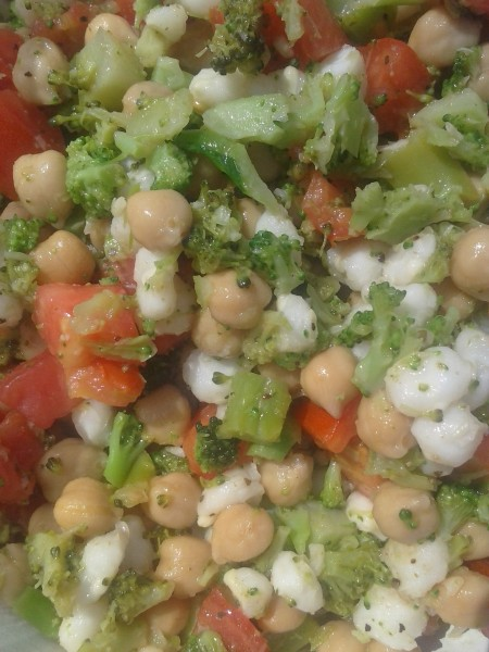 Broccoli, Chickpea, Hominy, and Tomato Salad