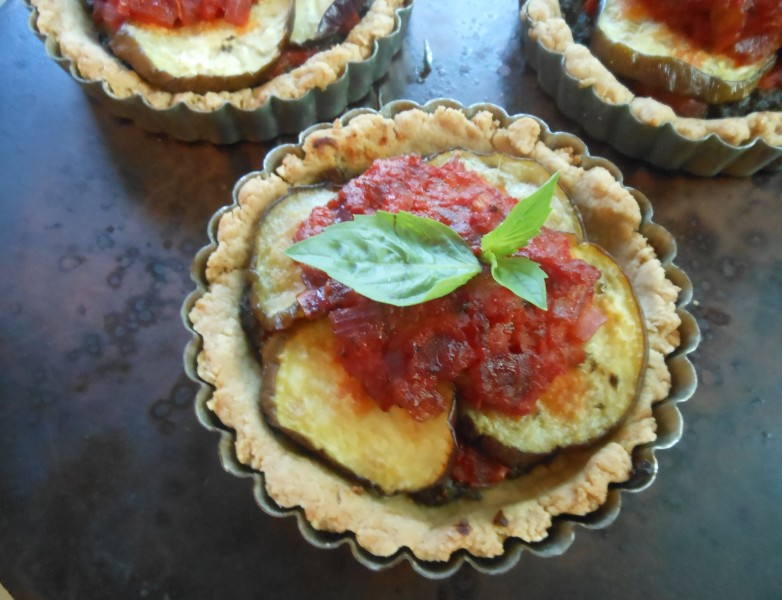 Eggplant and Roasted Red Pepper Tarts--3