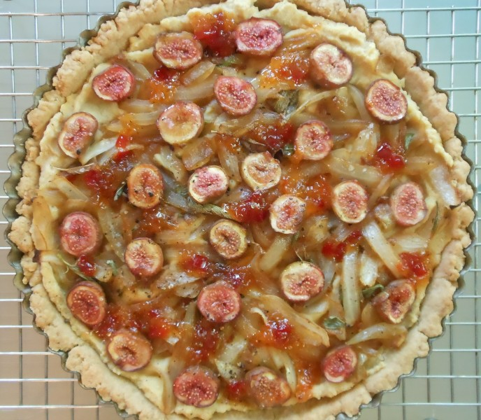 White Bean, Caramelized Sagey Onions, Fresh Fig and Pepper Relish Tart