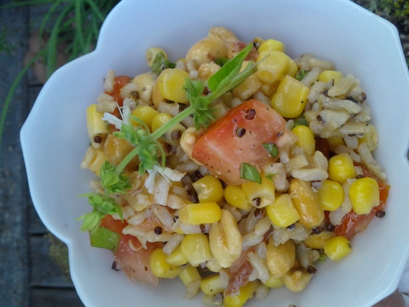 Wild Rice, Corn, Peanuts, Tomato, and Basil Salad