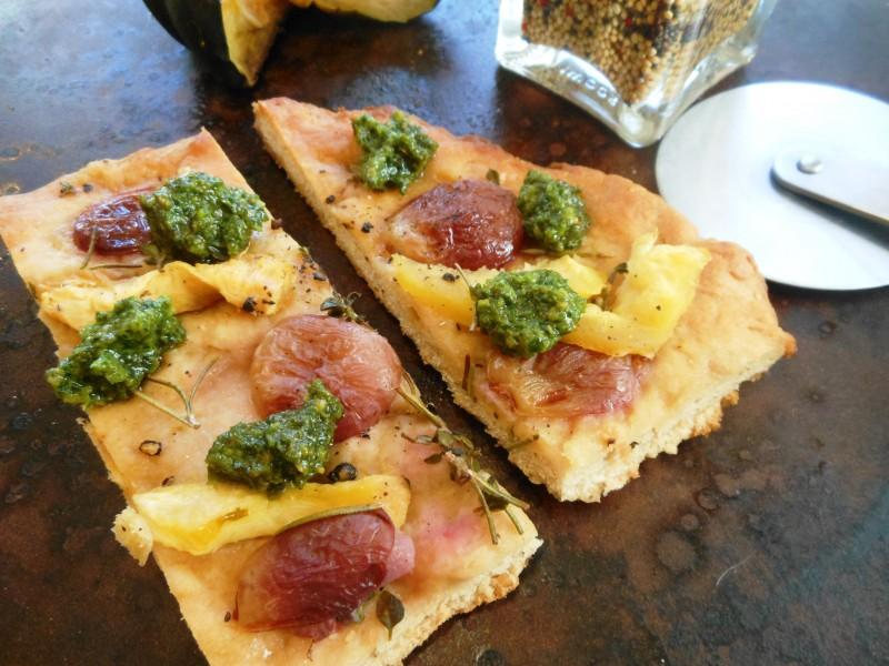 Focaccia with Red Grapes, Acorn Squash, and Kale Pesto--Slices