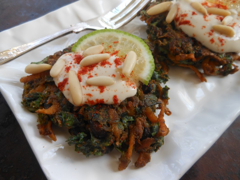 Kale, Sweet Potato and Black Bean Fritter Cakes--with Fork