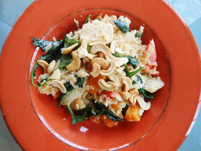 Thai Pumpkin and Tofu in Coconut Red Curry Sauce--Restaurant Leftovers Redux