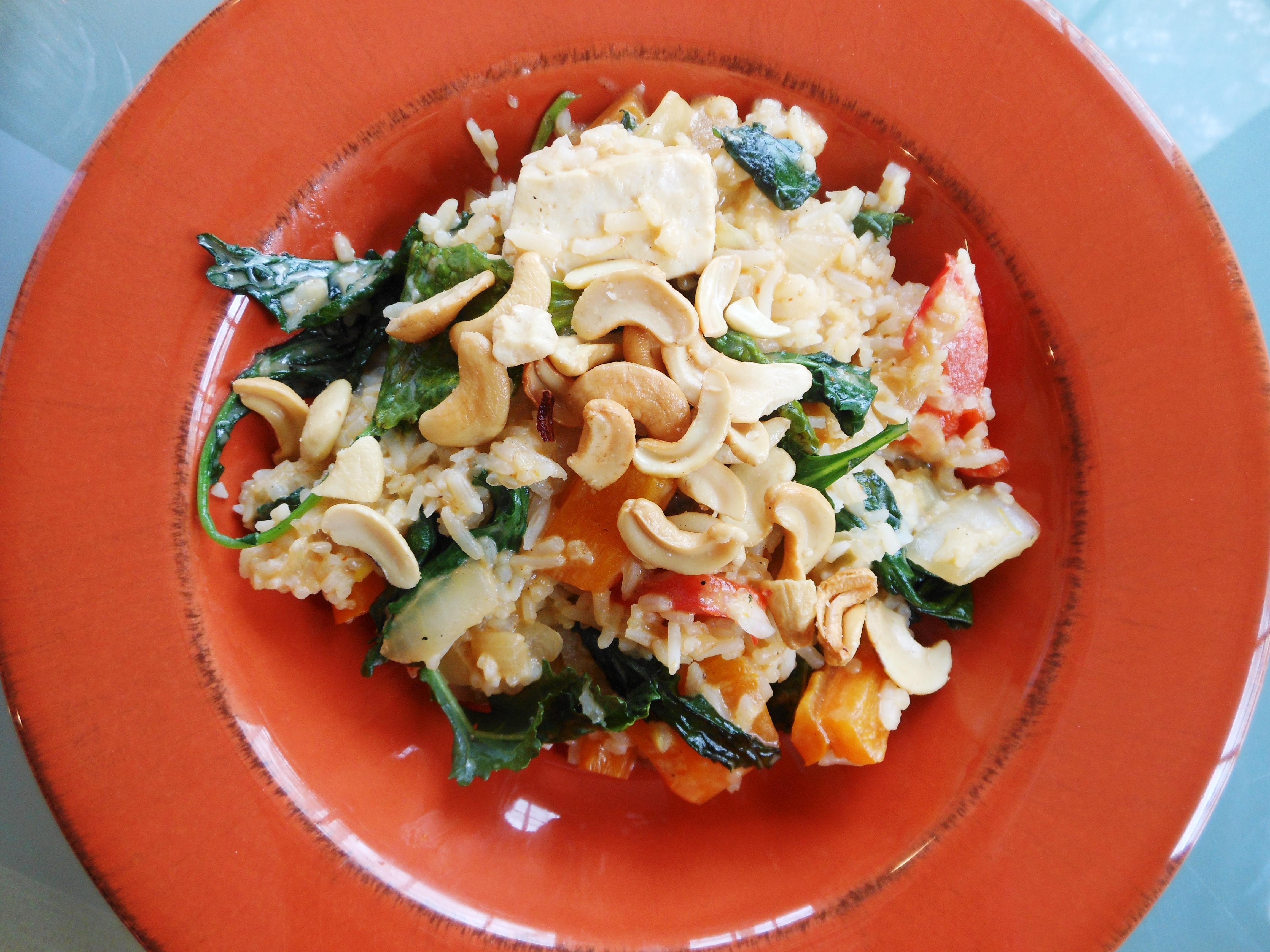 Vegan Thai Pumpkin And Tofu In Coconut Red Curry Saucea Restaurant