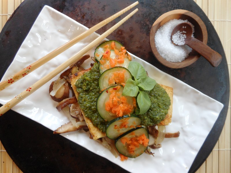 Vietnamese Tofu Stack with Golden Shitake Saute, Herb and Peanut Pesto, and Pickled Cucumber-Carrots