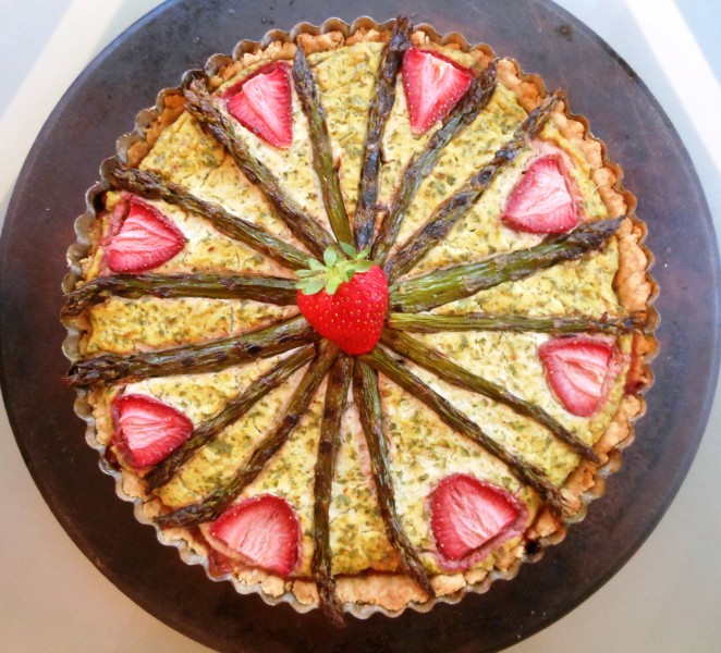 Grilled Asparagus, Kale and Strawberry Quiche--Birdseye View