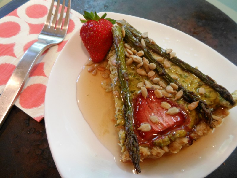 Grilled Asparagus, Kale and Strawberry Quiche--Slice