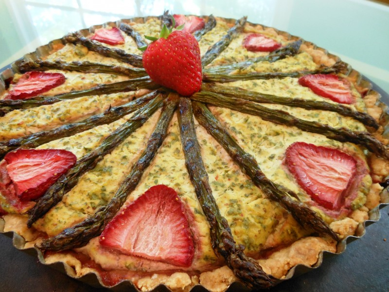 Grilled Asparagus, Kale and Strawberry Quiche--Slight Birdseye View