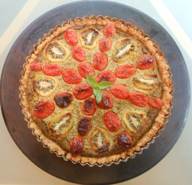 Savory Spring Tart with Cherry Tomatoes, Kiwi and Kale--Whole