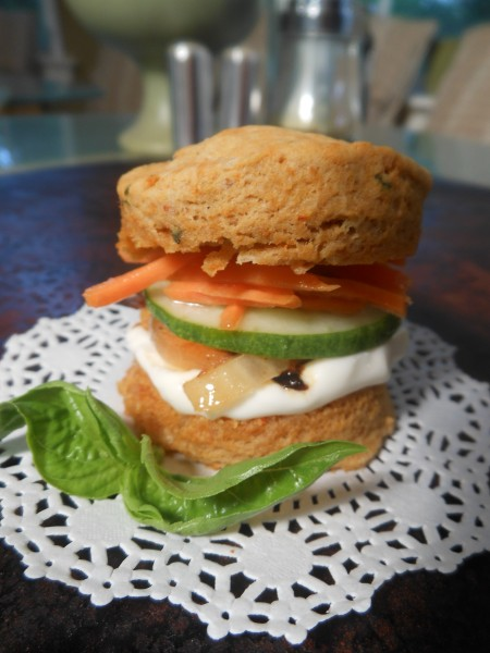 Vegan Coconut Red Curry-Basil Biscuit Stack