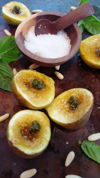 Curried Figs Brulee with Pesto