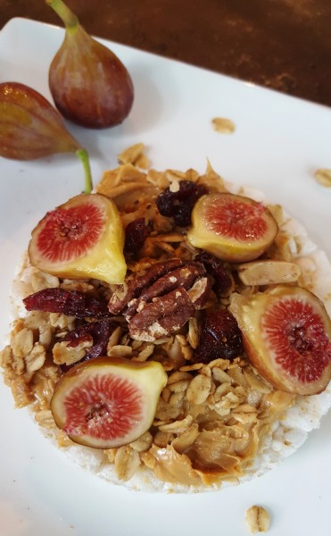 Peanut Butter, Granola, and Fresh Fig Ricecake