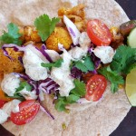 Vegan Beer, Lime, & Chipotle-Roasted Cauliflower Tacos with Spicy Baja Sauce