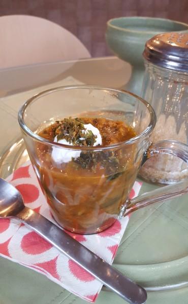 Lentil Soup with Kale Croutons