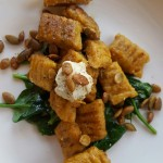 Vegan Butternut Squash Gnocchi with Browned Sage Butter, Wilted Greens and Roasted Pumpkin Seeds