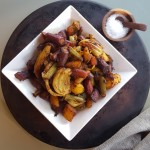 """Vegan Middle Eastern Roasted Tri-Color Carrots and Fennel with Cucumber-Chickpea """"Yogurt"""" Sauce"""