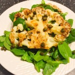"Day 1: Announcing An Inspired New Project–""Cooking 'The Blooming Platter Cookbook' a la the movie 'Julie & Julia' for my Omnivorous Family"": Roasted Cauliflower Salad with Mustard Vinaigrette"