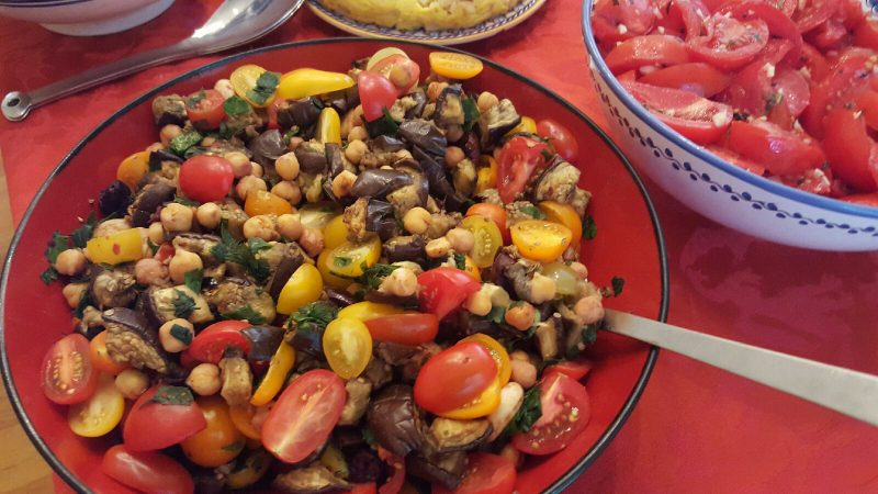 Eggplant and Chickpea Salad