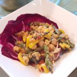 Vegan Smoky Grilled Asparagus and Chickpea Salad <br> in Raddichio Cups