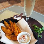 Vegan &#8220;French Fries and Champagne&#8221; <br> Indian-Spiced Sweet Potato Wedges with Dipping Sauce