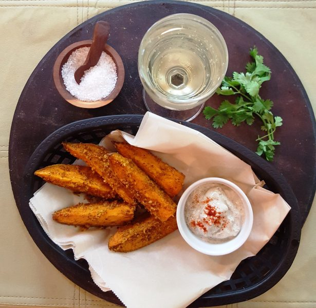 Indian Spiced French Fries and Champagne--aerial