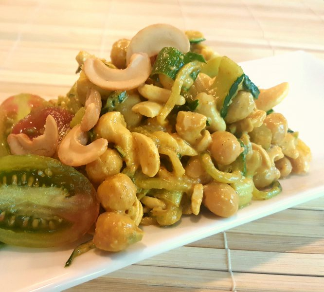 Vegan Indian Chickpea, Spiralized Zucchini, and Cashew Salad