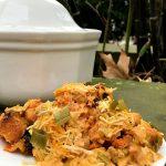 Vegan Cheesy Buffalo Chickpea-Tater Tot Casserole