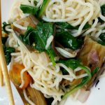 Japanese Eggplant and Baby Greens Pasta<br>app 250 calories for the entire recipe!