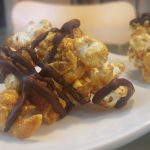 Vegan Reduced-Calorie Caramel-Cashew Popcorn with Chocolate Drizzle