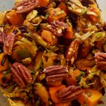 Vegan Roasted Brussels Sprouts and Butternut Salad<br>with Orange-Maple Vinaigrette