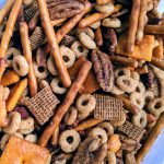 "Vegan Kentucky Bluegrass Chex Mix: Bourbon, ""Bacon,"" & Pecans"