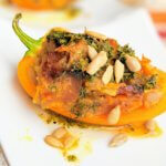 Pumpkin-Cauli Stuffed Mini Bells with Sage Butter (vegan and plant-based)