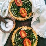 Italian Asparagus-Cheese Tarts with Spicy Peanut Crust (vegan & plant-based)