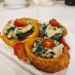 Beer Battered Onion Ring Cups with Cream Cheese Spinach (vegan & plant-based)