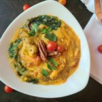 Cheese Grits & Sausage Casserole with Spinach (vegan/plant-based)